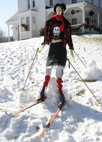 A mannequin cross country skier is seen on a front lawn on a home along Route 156 on Tuesday, Jan. 7, 2014 in Voorheesville, N.Y. (Lori Van Buren / Times Union) Photo: Lori Van Buren / 00025268A