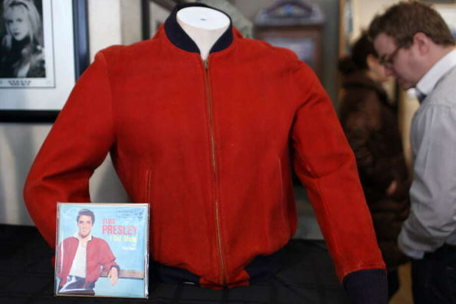"Elvis Presley's red suede jacket worn on the cover of ""Jailhouse Rock"" (Photo by Neilson Barnard/Getty Images) (Getty Images)"