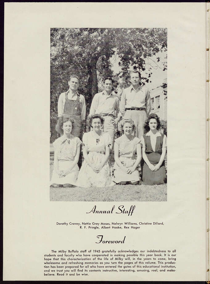 Milby High School is in the process of converting each of the school's yearbooks into an all-digital format. This image is taken from the 1945 edition of the yearbook. Photo: Milby High School