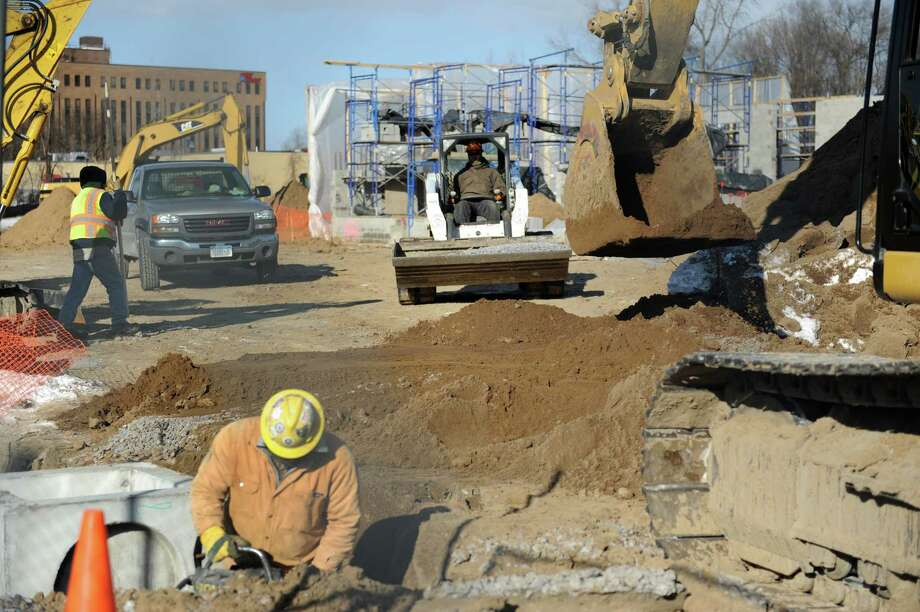 Work is under way on the new Staybridge Suites north of Macy's on Tuesday, Jan. 7, 2014 in Colonie, N.Y. (Lori Van Buren / Times Union) Photo: Lori Van Buren / 00025274A