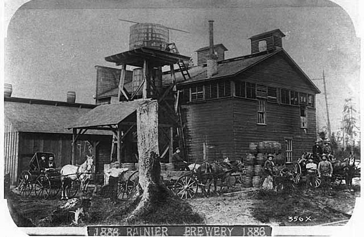 1886: The Seattle Brewing & Malting Co., founded in 1878 and ultimately merged with a firm that became the Rainier Brewing Co. Webster & Stevens photo. Photo id 1983.10.6078.1. To order a reproduction or to inquire about permissions contact photos@mohai.org or phone 206-324-1126.