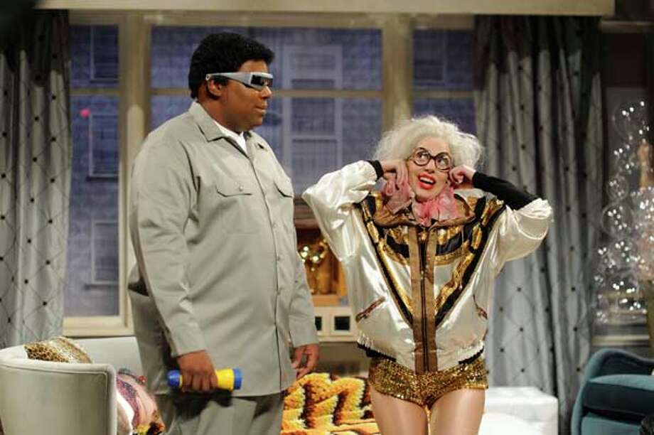 "Kenan Thompson  as Thorgon, and Lady Gaga as herself/Mrs. Germanotta during the ""Upper West Side 2063"" skit on November 16, 2013 Photo: NBC, NBCU Photo Bank Via Getty Images / 2013 NBCUniversal Media, LLC."