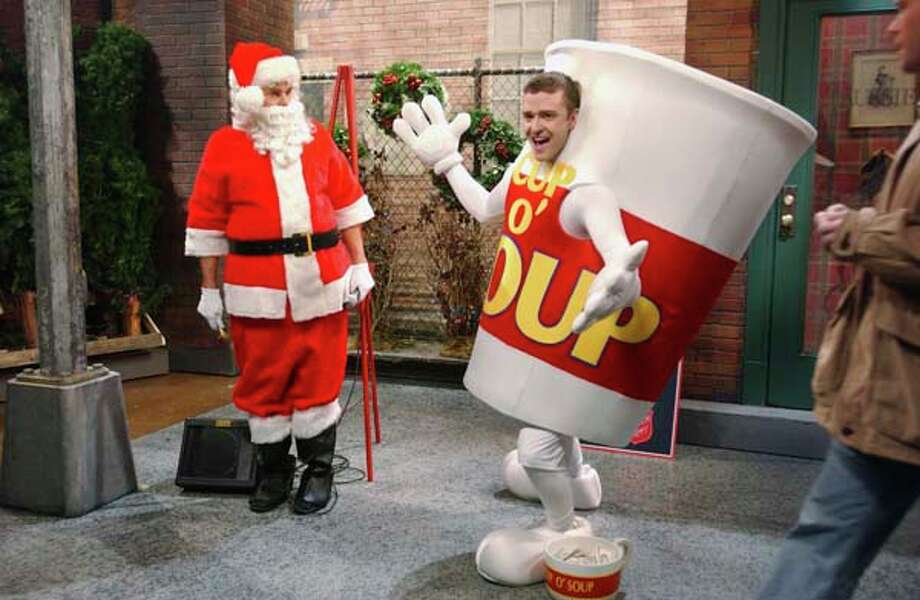 "Will Forte as spokesperson, Justin Timberlake as dancing mascot during ""Competing Charities"" skit on December 16, 2006 Photo: NBC, NBC Via Getty Images / 2012 NBCUniversal, Inc."