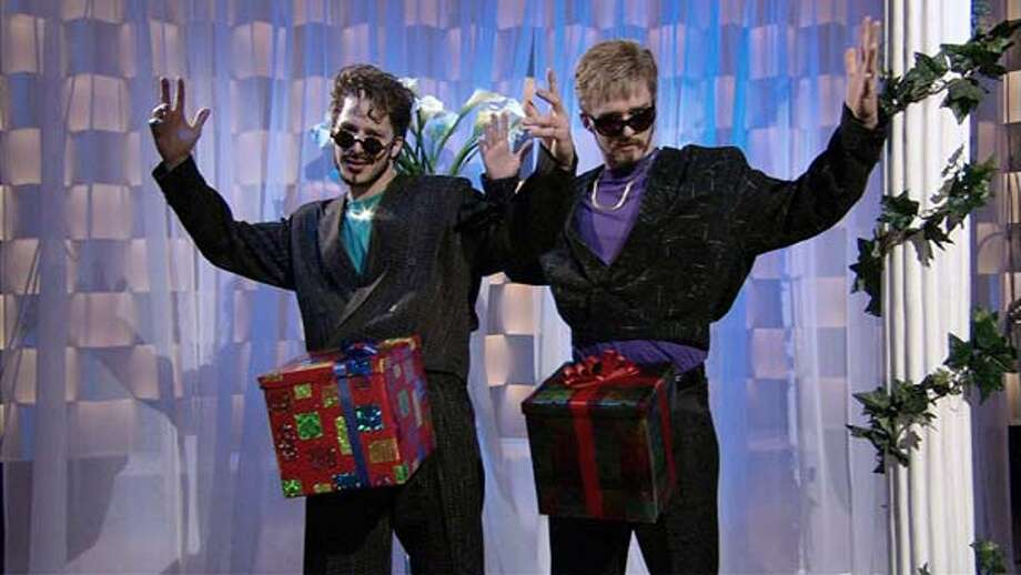 Andy Samberg and Justin Timberlake during a popular skit about a holiday present on December 16, 2006 Photo: NBC, NBC Via Getty Images / 2012 NBCUniversal, Inc.