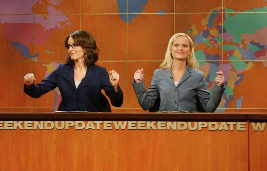 "Tina Fey and Amy Poehler during ""Weekend Update"" on May 6, 2006 Photo: NBC, NBC Via Getty Images / 2012 NBCUniversal, Inc."