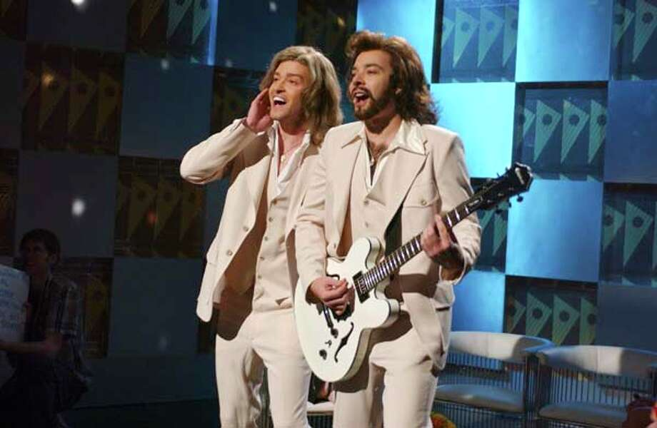 "Justin Timberlake as Robin Gibb and Jimmy Fallon as Barry Gibb during ""The Barry Gibb Talk Show"" skit  on April 9, 2005 Photo: NBC, NBC Via Getty Images / 2012 NBCUniversal, Inc."
