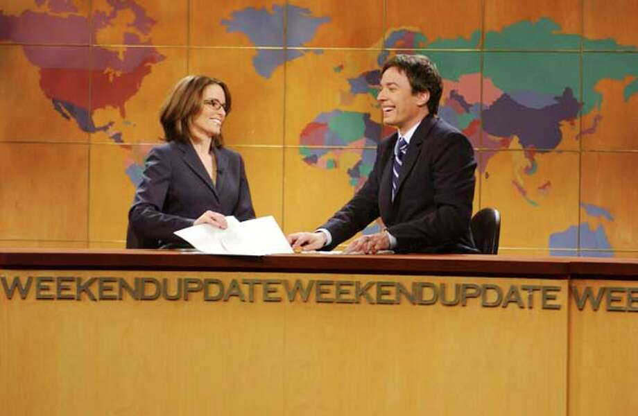 "Tina Fey, Jimmy Fallon during ""Weekend Update"" on May 11, 2003 Photo: NBC, NBC Via Getty Images / 2012 NBCUniversal, Inc."