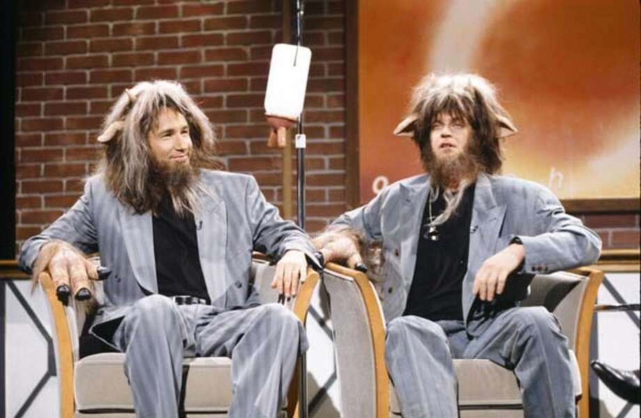 David Duchovny as Goat Boy Two and Jim Breuer as Goat Boy during the 'Oprah' skit on May 9, 1998 Photo: NBC, NBC Via Getty Images / © NBCUniversal, Inc.