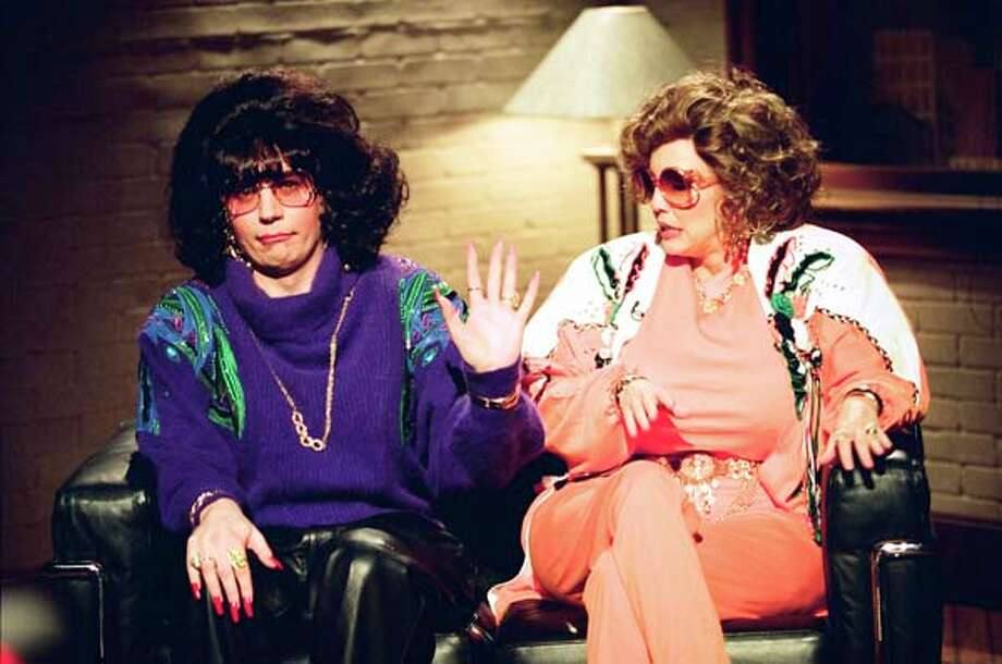 Mike Myers as Linda Richman and Heather Locklear as Lila Klein during the 'Coffee Talk' skit on May 14, 1994 Photo: NBC, NBCU Photo Bank Via Getty Images / 2012 NBCUniversal Media, LLC