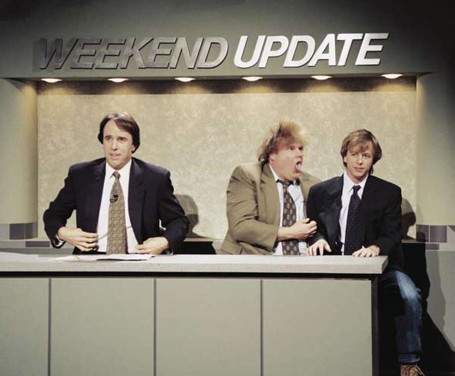 "Kevin Nealon, Chris Farley, and David Spade during ""Weekend Update"" on April 9, 1994 Photo: NBC, NBC Via Getty Images / © NBC Universal, Inc."