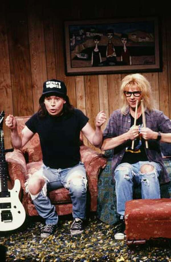 Mike Myers as Wayne Campbell, Dana Carvey as Garth Algar during the 'Wayne's World' skit on January 19, 1991 Photo: NBC, NBC Via Getty Images / 2012 NBCUniversal, Inc.