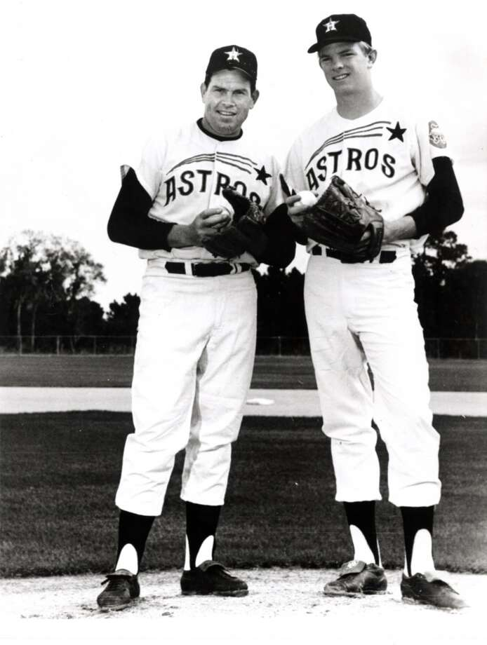 Robin Roberts (left)  Position:Pitcher  Time with the Astros: 1965-1966  Year of HOF induction: 1976  Rockin' Robin tossed a shutout in his Astros' debut. He won 286 games in his 19-year career. Photo: Houston Astros