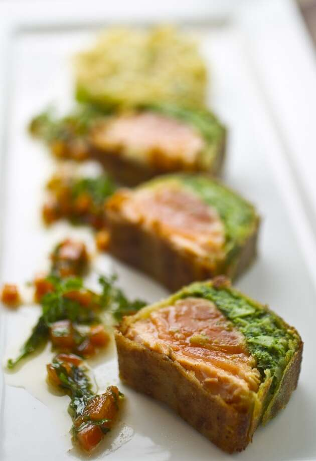 Crispy Rice Paper Salmon, with broccoli pesto, spaghetti squash and virgin vinaigrette at the new Philippe Restaurant and Lounge.  ( Karen Warren / Houston Chronicle ) Photo: Karen Warren, Houston Chronicle