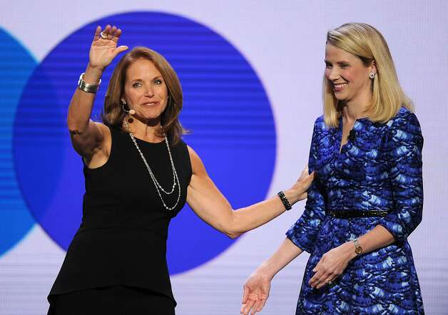 Katie Couric (left) appears onstage with Yahoo CEO Marissa Mayer during Mayer's keynote address at the 2014 International Consumer Electronics Show in Las Vegas. Photo: Robyn Beck, AFP/Getty Images