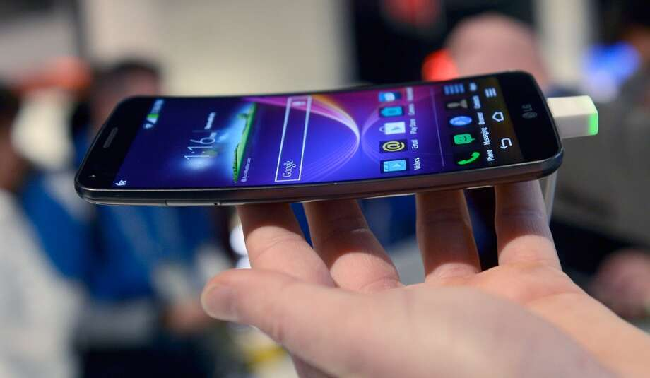 The LG G Flex telephone is on display at the LG booth. The 6-inch device is coming to the U.S. later this year. Photo: David Becker, Getty Images