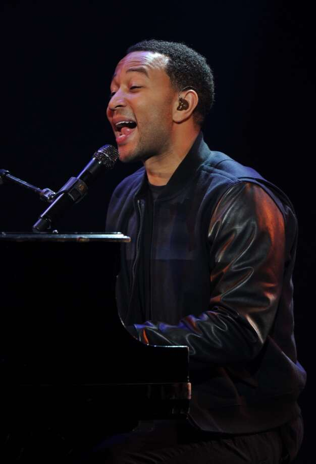 John Legend performs during the keynote address by Yahoo CEO Marissa Mayer. Photo: ROBYN BECK, AFP/Getty Images