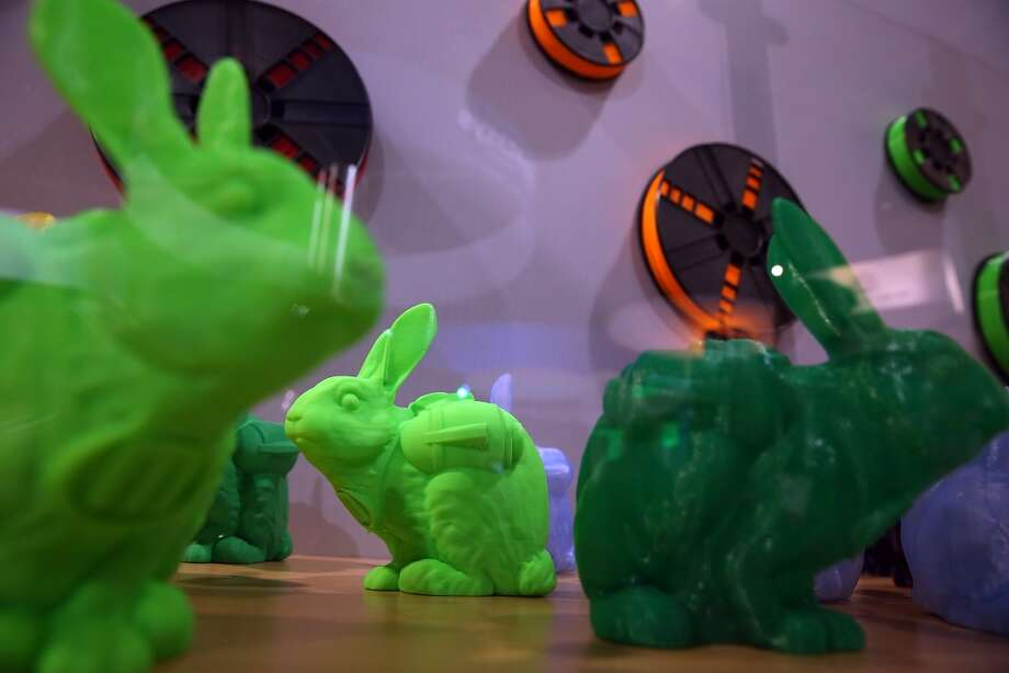 Rabbits made with a MakerBot 3D printer are displayed. Photo: Justin Sullivan, Getty Images
