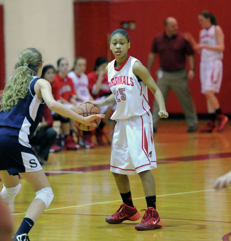 Girls high school basketball game between Greenwich High School and Staples High School at Greenwich, Tuesday, Jan. 7, 2014. Photo: Bob Luckey / Greenwich Time