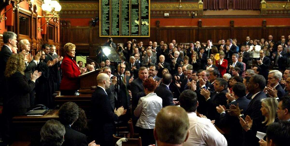 Governor, M. Jodi Rell is applauded, by a joint legislative session, after her budget address, Wednesday, Feb. 3, 2010, at the State Capital in Hartford.