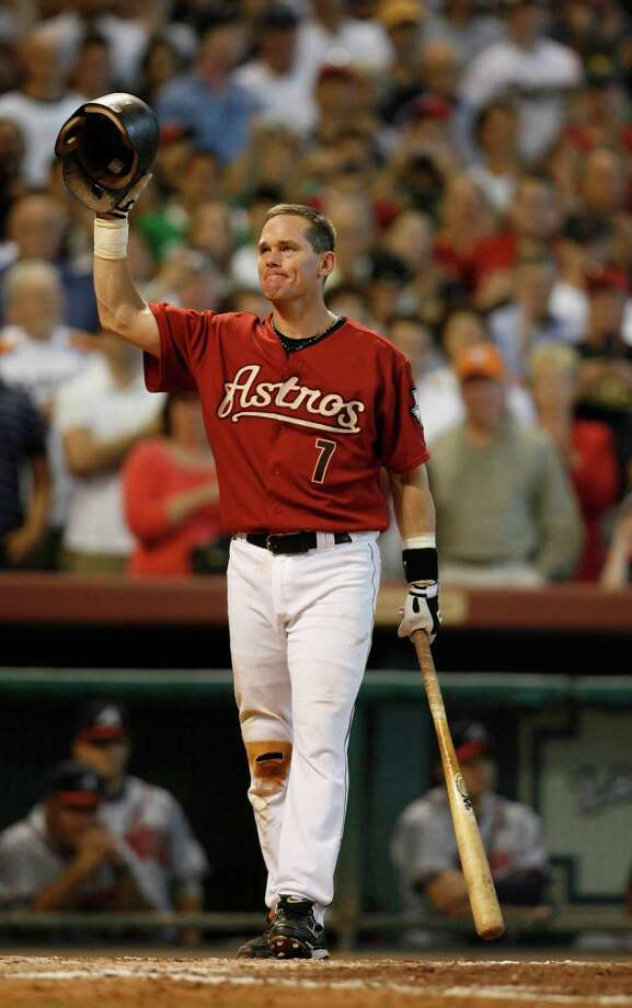 CRAIG BIGGIO, ASTROSPositions: C, 2BSeasons: 20Years: 1988-2007Highlights: A seven-time All-Star and one of only nine players with more than 3,000 hits with the same team. Retired as an Astro. First Astro to be voted into baseball's Hall of Fame. Photo: Karen Warren, Staff / Houston Chronicle