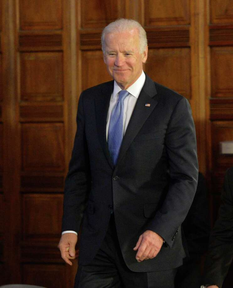 Vice President Joseph Biden enters the Red Room of the Capitol Tuesday morning Jan. 7, 2014 in Albany, N.Y.  where he met with Governor Andrew Cuomo, Congressman Paul Tonko and the heads of the NYS Legislature.    (Skip Dickstein / Times Union) Photo: SKIP DICKSTEIN / 0025269A