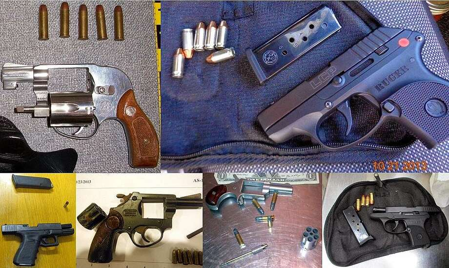This photo montage from the Transportation Security Administration shows guns discovered at five airports, including George Bush Intercontinental Airport. Photo: TSA