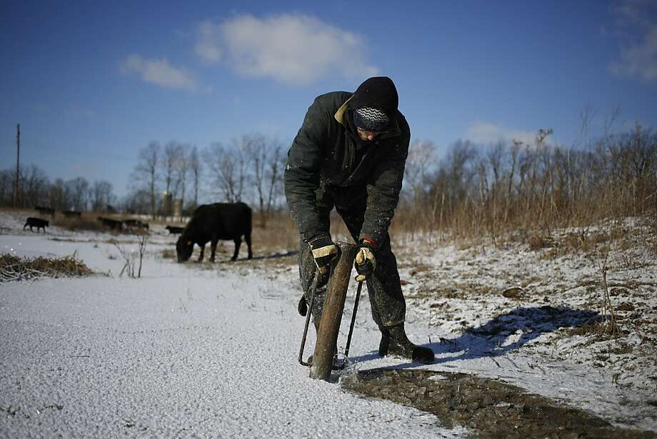 WINCHESTER, KY - JANUARY 7:  Organic farmer Will Muir of Wholesome Living Farm breaks through the ice on a pond so his cows can access drinking water in the midst of bitter cold below-zero temperatures on January 7, 2014 in Winchester, Kentucky. Temperatures in the single digits coupled with below-zero wind chills have prompted the closure of local governments, schools, and businesses throughout the South. (Photo by Luke Sharrett/Getty Images) Photo: Luke Sharrett, Getty Images