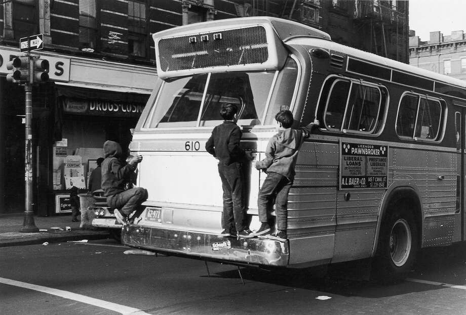 Bumper jumpingIf you saw a bunch of kids doing this on a New York City street today, you'd call the police. Photo: Anna Kaufman Moon, Getty Images / Archive Photos