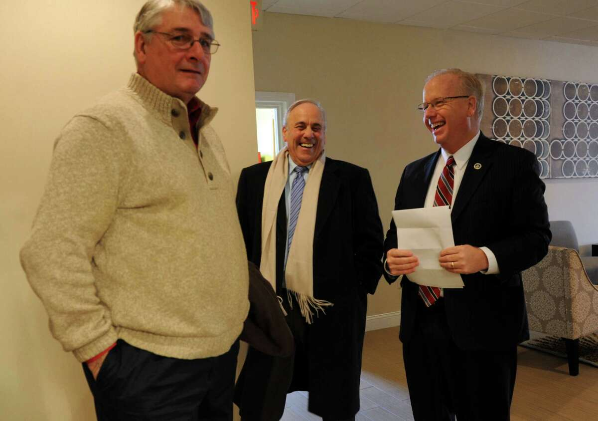 Danbury Mayor Mark Boughton, right, before annoucing his intention to run for the governor, Wednesday, January 8, 2014, at the Holiday Inn in Danbury, Conn.