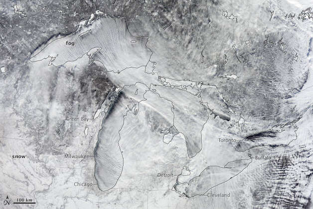 While the northeastern U.S. freezes under the polar vortex, NASA's Earth Observatory caught this spectacular image of the Great Lakes from space. NASA says cold air passed over the warm waters of Lake Michigan, creating steam fog. (Photo from NASA Earth Observatory)