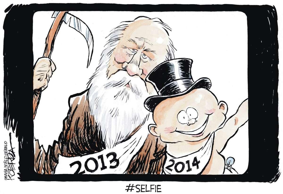 "Jeff Koterba cartoon for January 1, 2014 ""New Year's Selfie"""