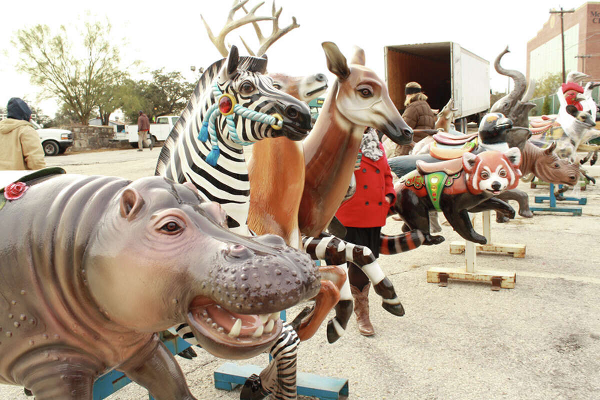 A new carousel is the centerpiece of the San Antonio Zoo's Zootennial Plaza, to open March 7 to commemorate the Zoo's 100th birthday.