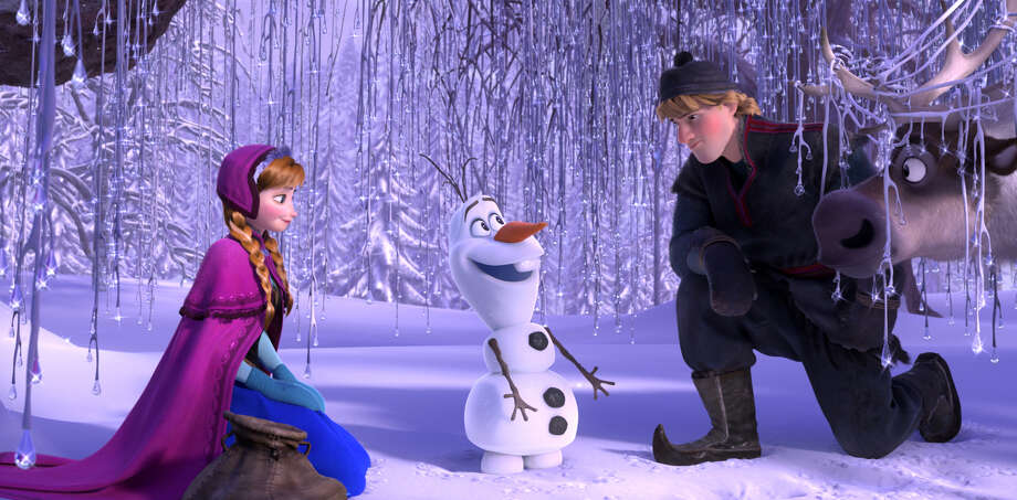"Anna, voiced by Kristen Bell, Olaf, voiced by Josh Gad, and Kristoff, voiced by Jonathan Groff in a scene from the animated feature ""Frozen."" Photo: HOEP / Disney"