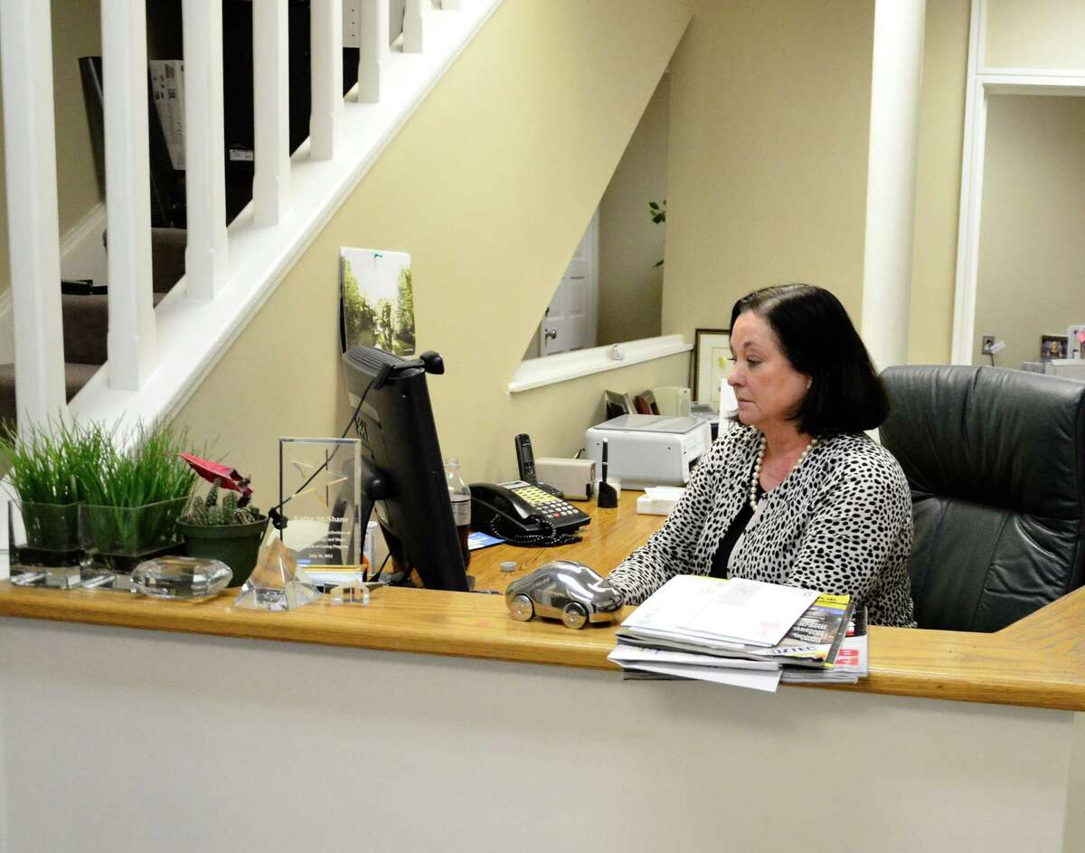 Kathy McShane at the Ladies Who Launch office at 47 Pine St., New Canaan, Conn. McShane is the managing director for the organization's chapter in Connecticut.