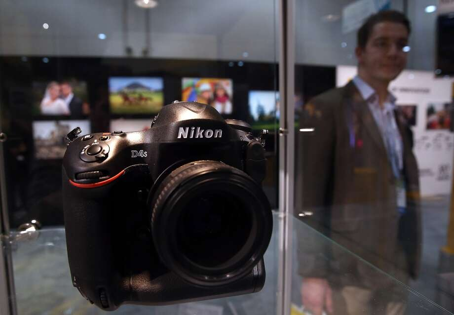 The Nikon D4S is displayed in the Nikon booth. Photo: Getty Images