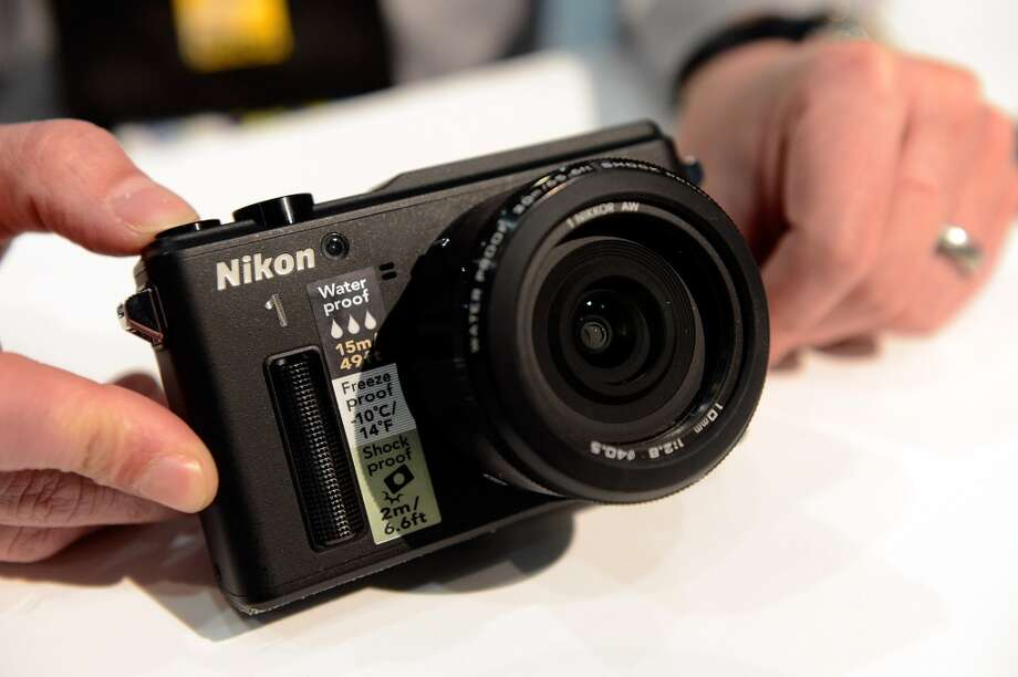 Nikon's AW1, an all weather camera, is on display at the 2014 International CES. Photo: Getty Images