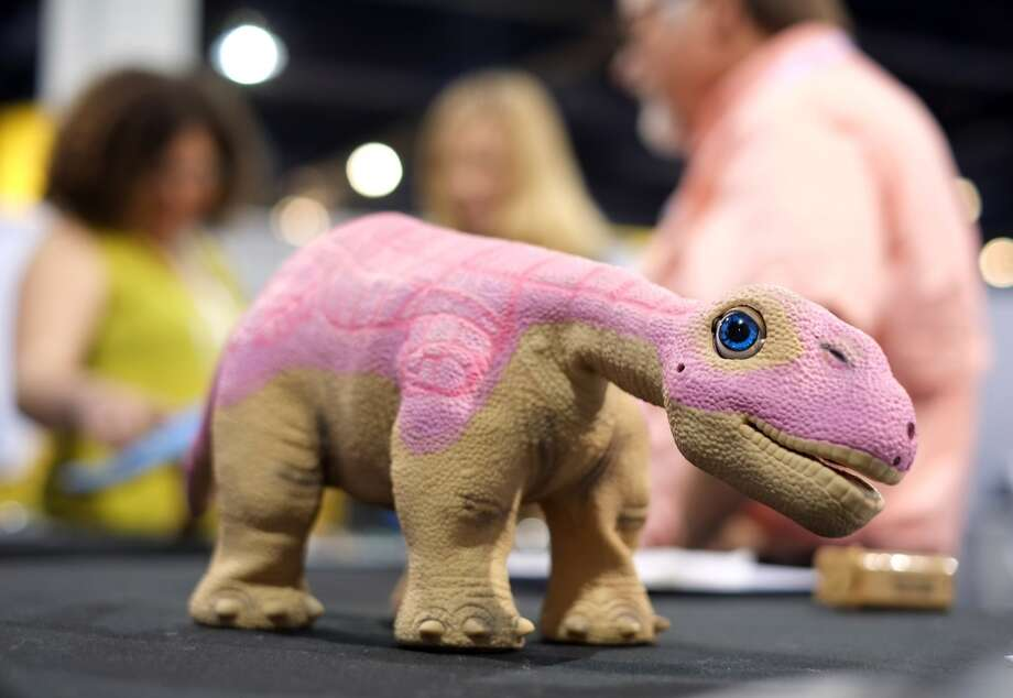 Innvo Labs present Pleo RB, a robotic life form, during the 2014 International CES. Photo: AFP/Getty Images
