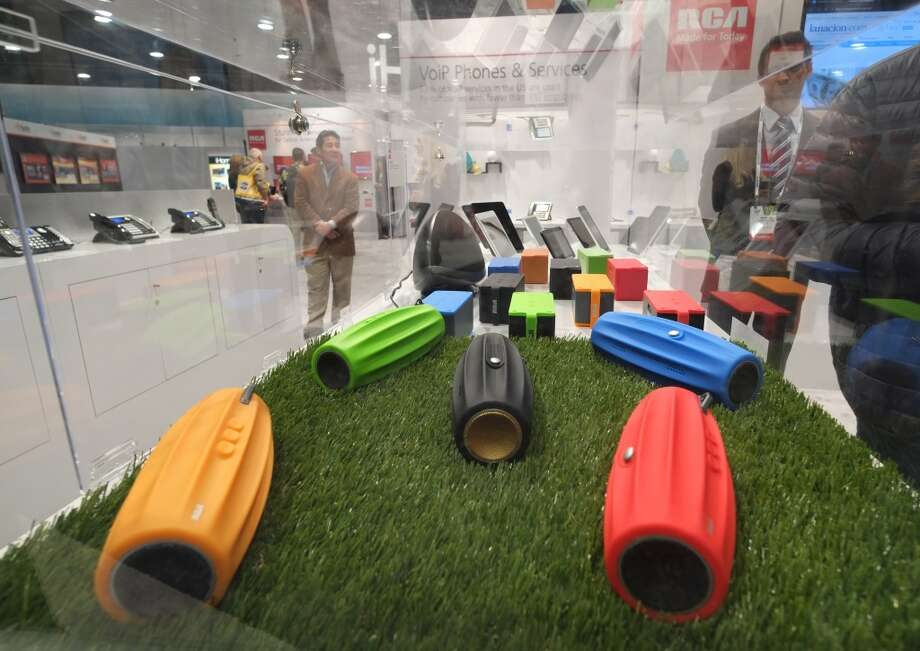 RCA's portable speakers are displayed during the 2014 International CES. Photo: AFP/Getty Images