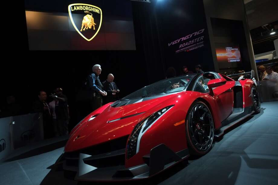 The Lamborghini Veneno Roadster equipped and promoted by Monster Audio is displayed during the 2014 International CES at the Las Vegas Convention Center. Photo: AFP/Getty Images