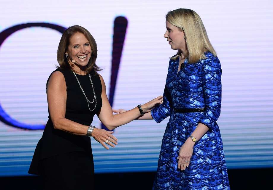 Journalist Katie Couric (L) joins Yahoo! President and CEO Marissa Mayer during her keynote address at the 2014 International CES. Photo: Getty Images
