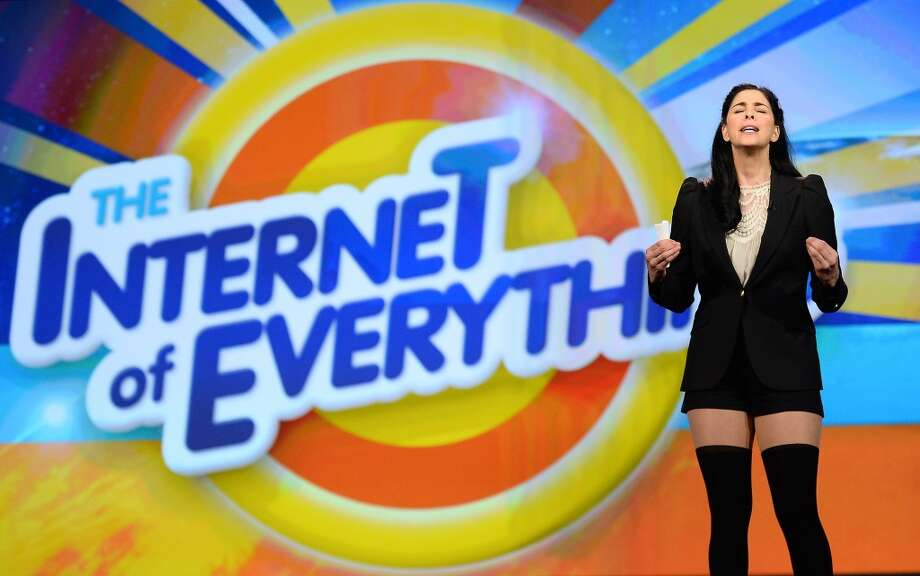 Sarah Silverman speaks during a keynote address by Cisco Systems Inc. Chairman and CEO John Chambers at the 2014 International CES. Photo: Getty Images
