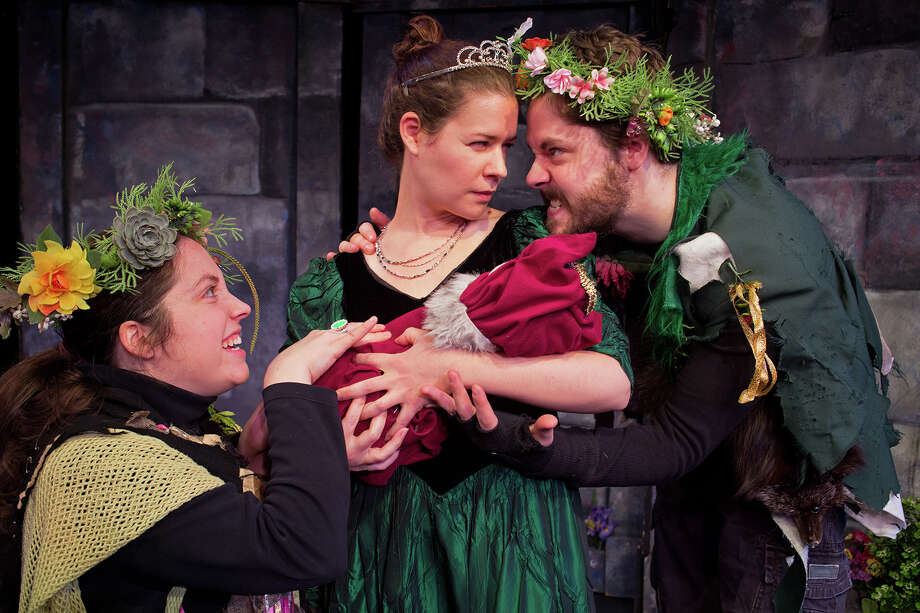 "The Queen (Jacqueline Donnaruma) tries to protect her infant son from the magical wood gnome, Rumpelstiltskin played by Kate Dylan, left and Alain Ackerman in Steamer No.10's 2014 production of ""Rumpelstiltskin."" (Joe Schuyler) Photo: Joseph Schuyler / @Joseph Schuyler"