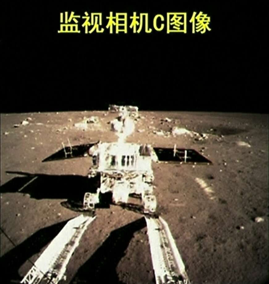 This video image shows China's first moon rover on the lunar surface on Dec. 15 after the first soft landing of a space probe on the moon in four decades. Photo: Associated Press
