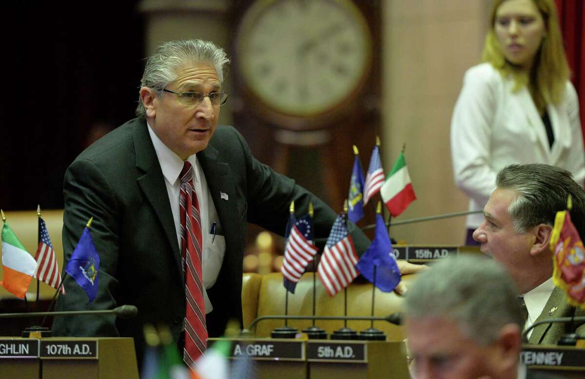 Assemblyman Jim Tedisco looks out over the assembly chamber before the opening of the 2014 session Wednesday, Jan. 8, 2014, at the Capitol in Albany, N.Y. (Skip Dickstein / Times Union)