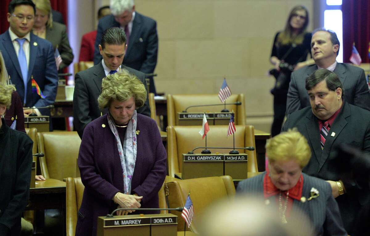 Assemblyman Dennis H. Gabryszak's seat is empty during the opening prayer at the New York State Assembly opening session Wednesday, Jan. 8, 2014, at the Capitol in Albany, N.Y. (Skip Dickstein / Times Union)