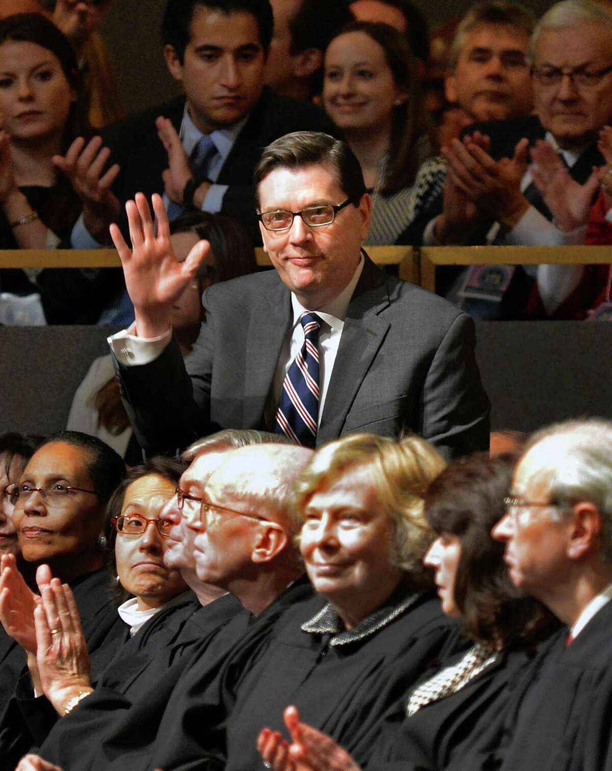 Mark Gearan is introduced during Gov. Andrew Cuomo's 2014 State of the State Address Wednesday, Jan. 8, 2014, at the Empire State Plaza Convention Center in Albany, N.Y. (John Carl D'Annibale / Times Union)