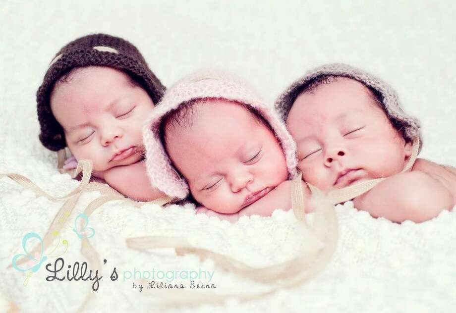 Houston triplets Grayson, Sophia and Jett (from left) were born on February 4,  2013. In this photo they were one month old, and each weighed 5 pounds. Photo: Liliana Serna, Lilly's Photography