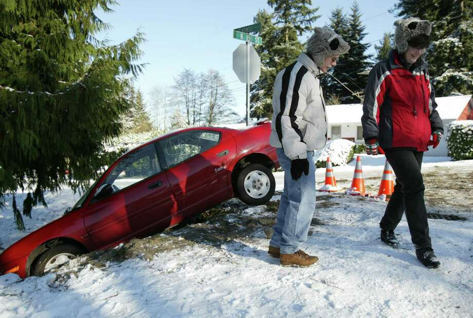 It's been documented that we're just plain bad at driving in the first place. We're timid, we're passive-aggressive. We're nervous and overcompensate for our roadway fears. So adding ice and slush to that mix just makes us worse. Photo: Joshua Trujillo, Seattlepi.com File Photo / Seattle P-I
