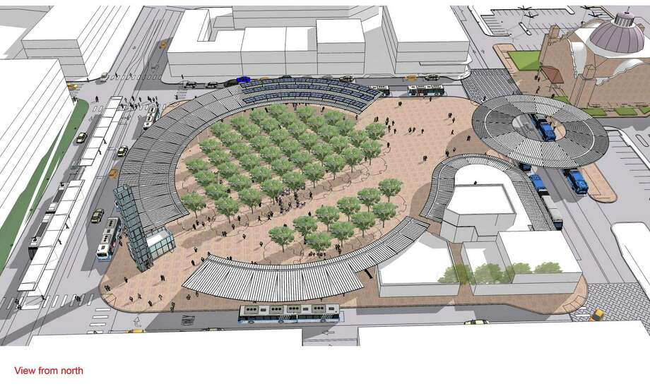An artist's rendering shows the planned West Side Multimodal Transit Center. VIA sought Advanced Transportation District bonds to use for several bus-related projects, including the transit center, which will serve buses and streetcars. Approval of the bonds was blocked after streetcar opponents filed a lawsuit. Photo: Courtesy Illustration / COURTESY OF VIA