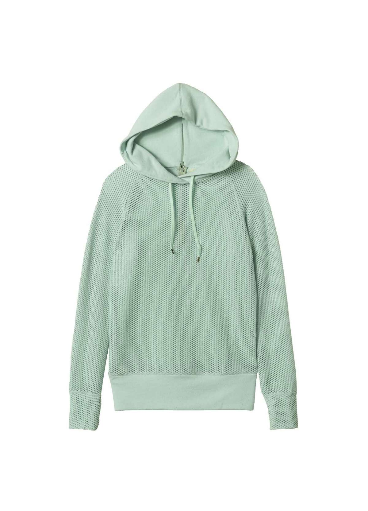 HOODED: Pair Rebecca Taylor's hooded mesh pullover in Robin's egg, $250 at Saks Fifth Avenue, with almost any bright color for spring.